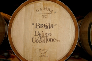 Barrique used to age Bricco dell'Uccellone Barbera at Braida Winery (Photo ©Tom Hyland)