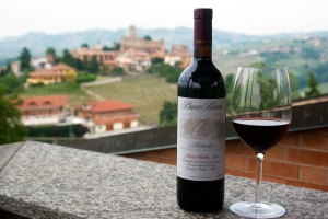 Bottle of Ceretto Barolo with the town of Castiglione Falletto in the background (Photo ©Tom Hyland)