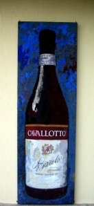Painting of Cavallotto bottle by Hannes Hofstetter
